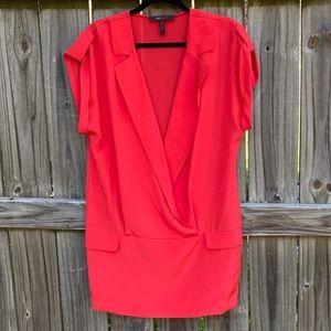 BCBGMAXAZIRA 100% Silk Short Sleeve Blazer Top
